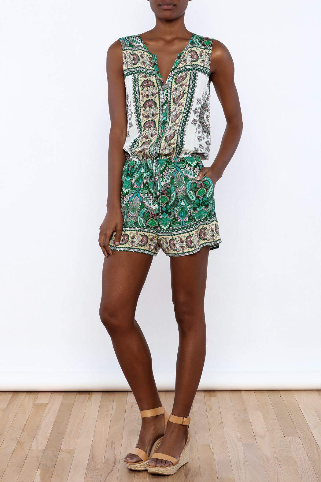 Umgee USA Multicolor Printed Romper - Front Full Image