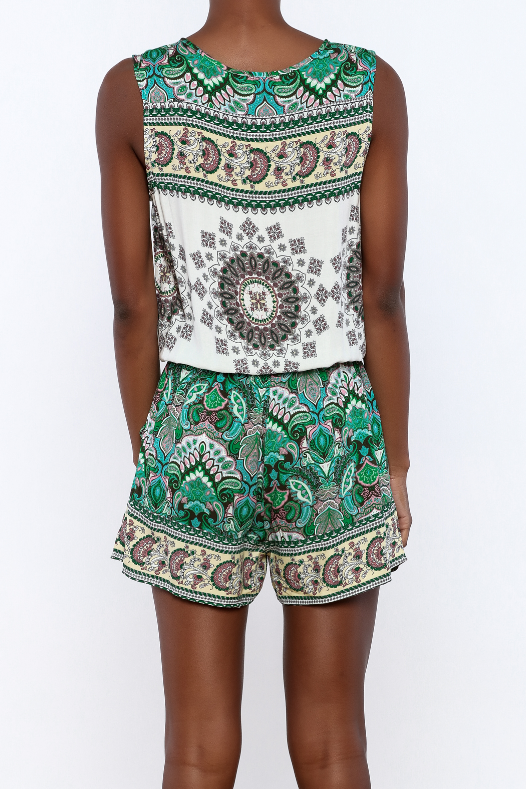 Umgee USA Multicolor Printed Romper - Back Cropped Image