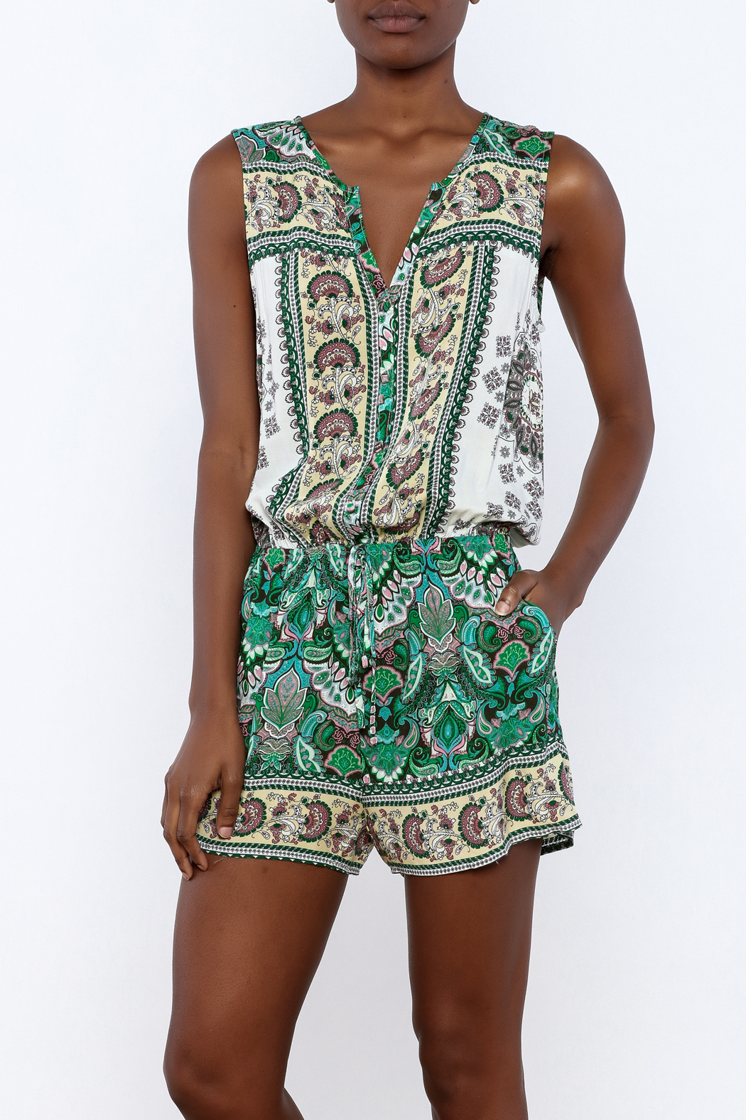 Umgee USA Multicolor Printed Romper - Front Cropped Image