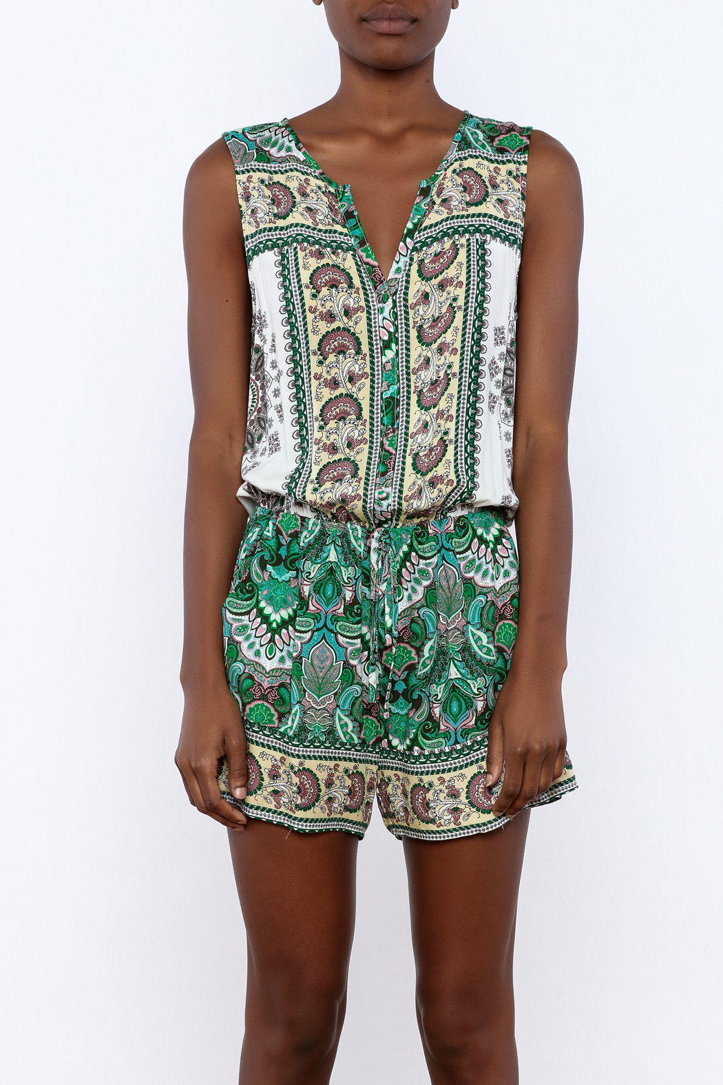 Umgee USA Multicolor Printed Romper - Side Cropped Image