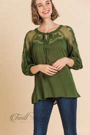 Umgee Olive Lace Top - Front cropped