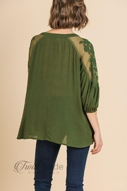 Umgee Olive Lace Top - Back cropped