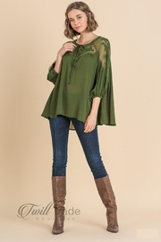 Umgee Olive Lace Top - Side cropped
