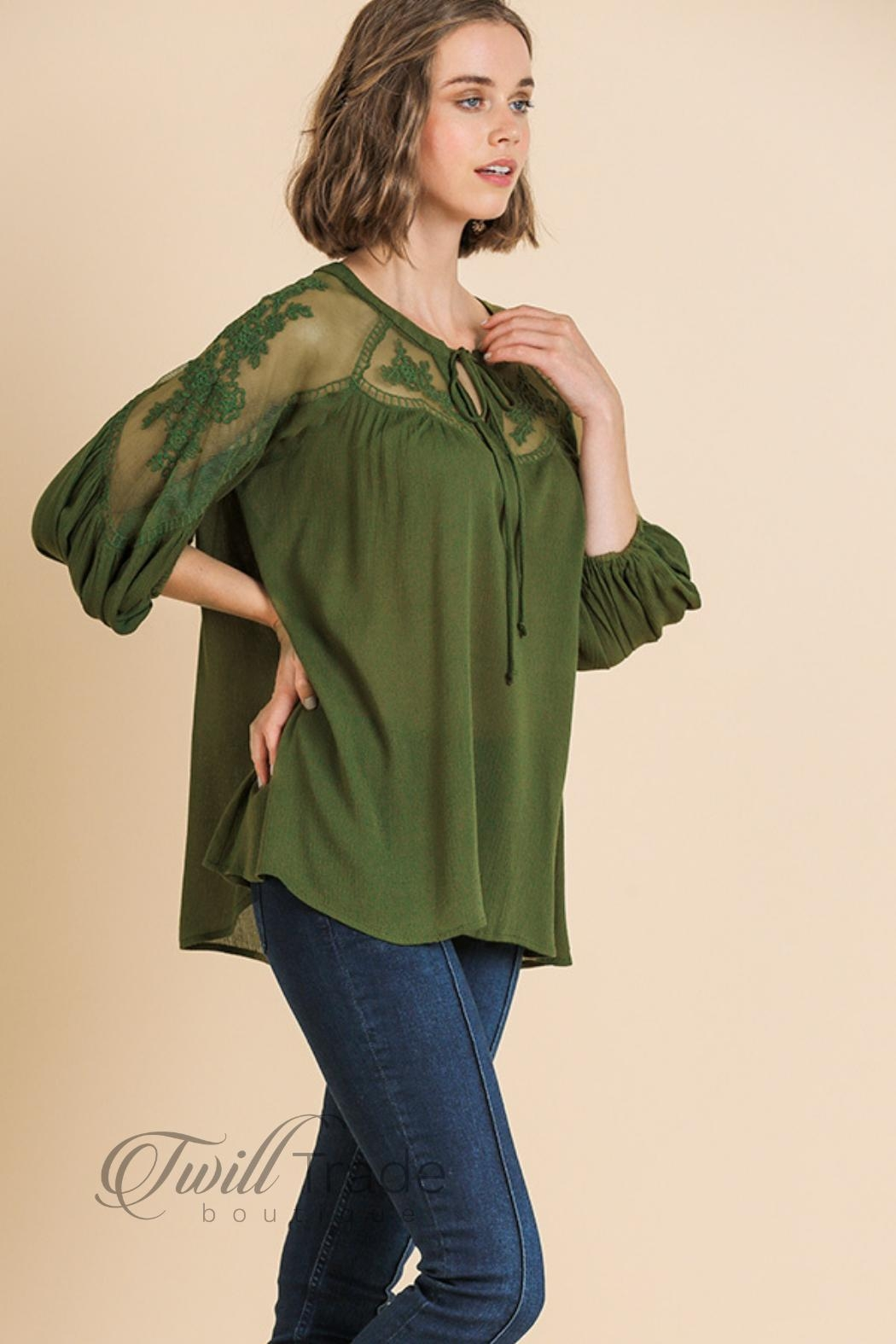 Umgee Olive Lace Top - Front Full Image