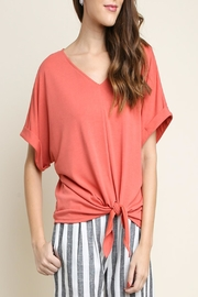 Umgee Rolled-Sleeve Tie Top - Product Mini Image