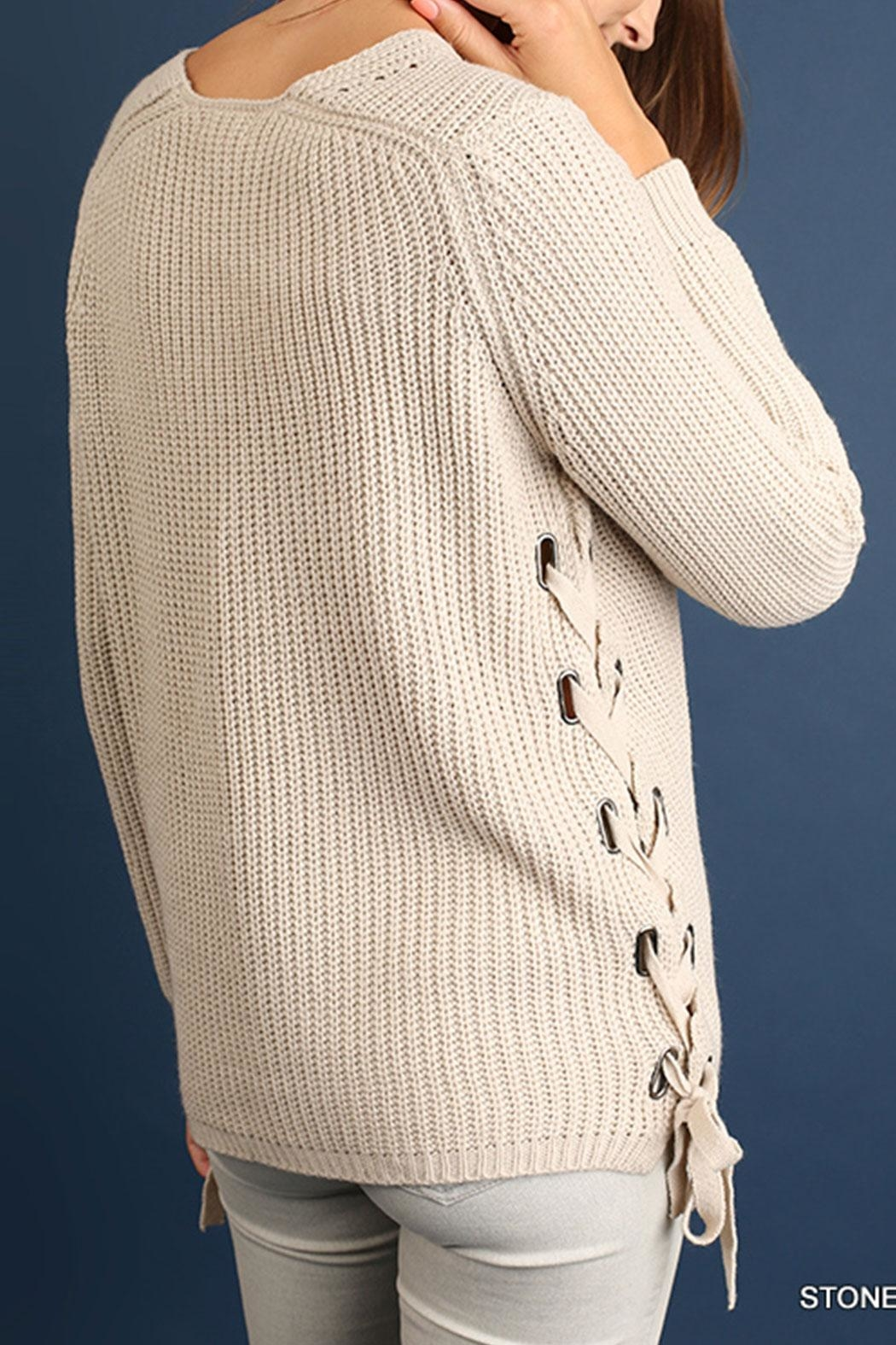 Umgee USA Side Lace-Up Sweater - Front Full Image