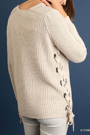Umgee USA Side Lace-Up Sweater - Front full body