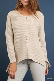 Umgee USA Side Lace-Up Sweater - Front cropped