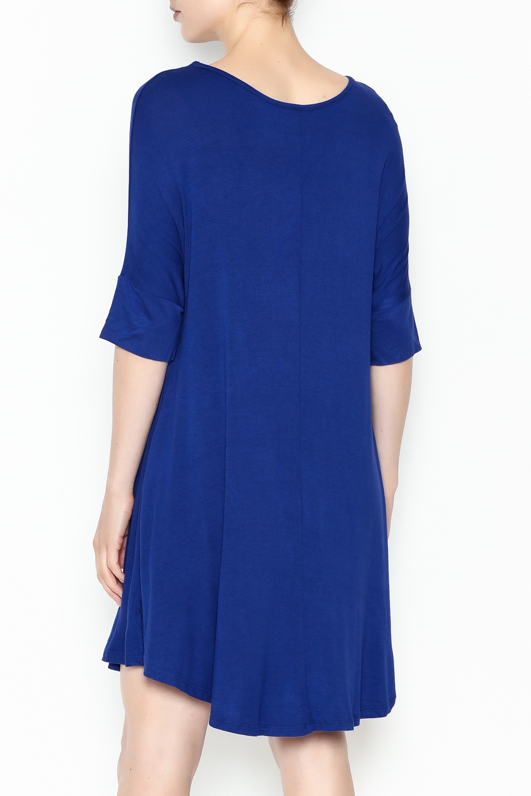 Umgee USA Royal Blue Tee Dress - Back Cropped Image