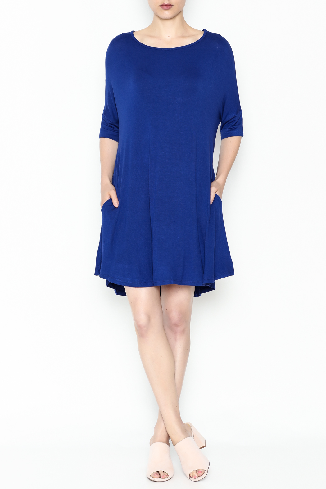 Umgee USA Royal Blue Tee Dress - Side Cropped Image