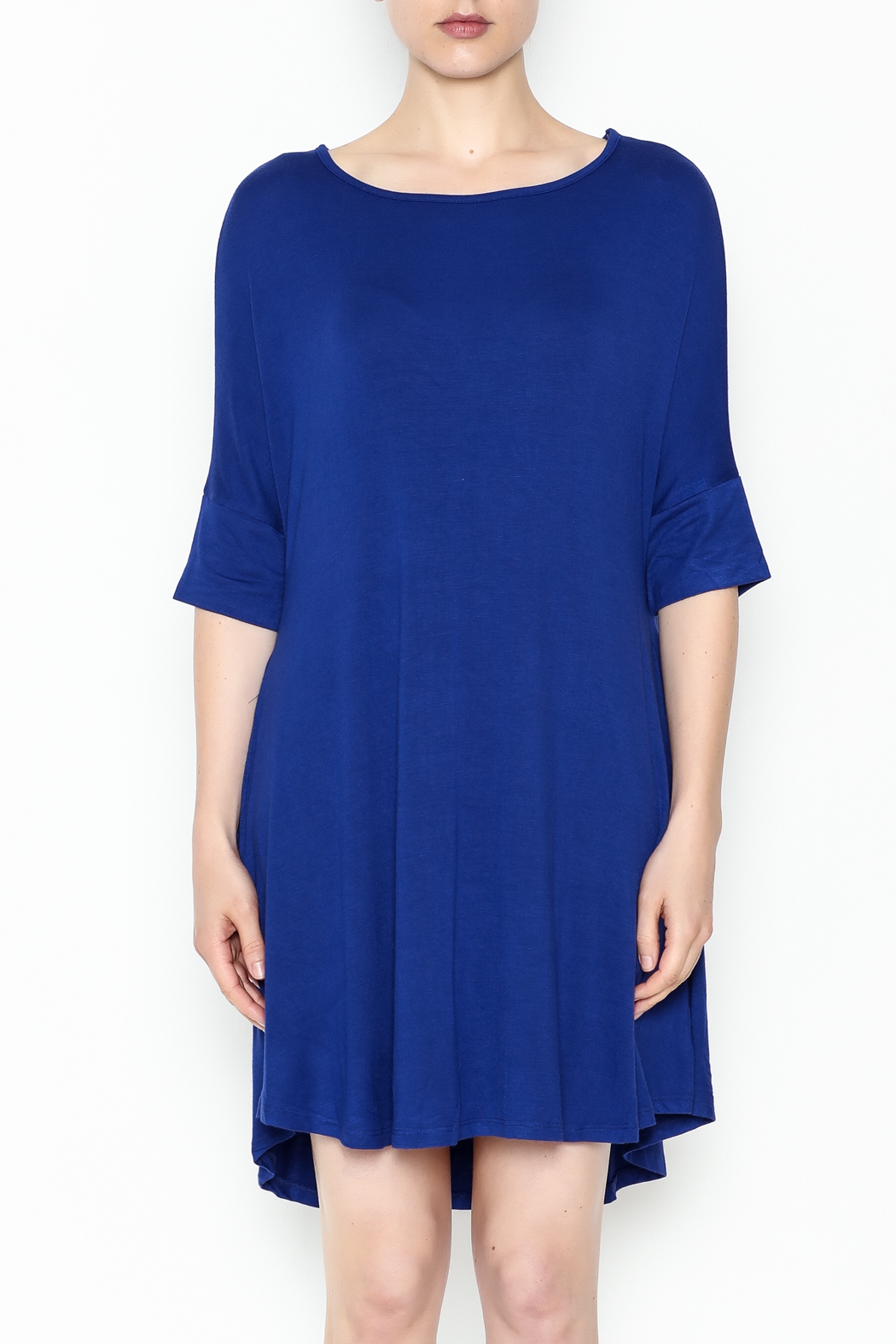 Umgee USA Royal Blue Tee Dress - Front Full Image