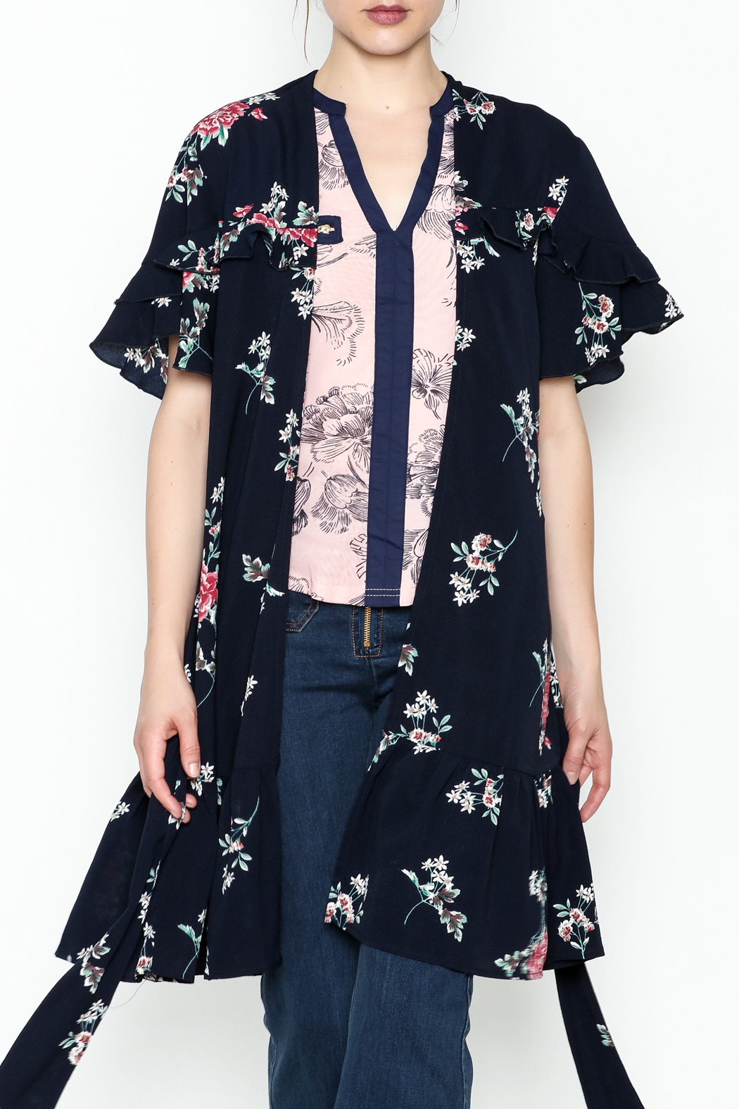 Umgee USA Floral Ruffle Kimono - Front Cropped Image