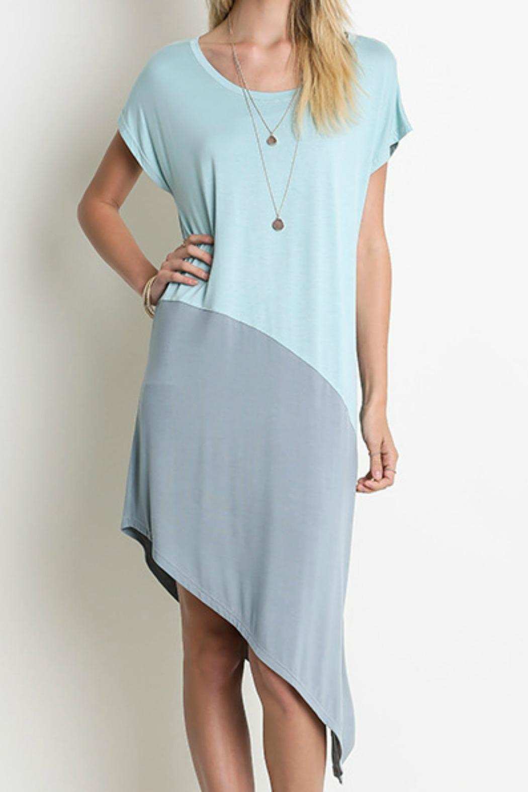 Umgee USA Two-Toned Asymmetrical Dress - Front Cropped Image