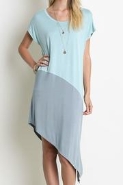 Umgee USA Two-Toned Asymmetrical Dress - Front cropped