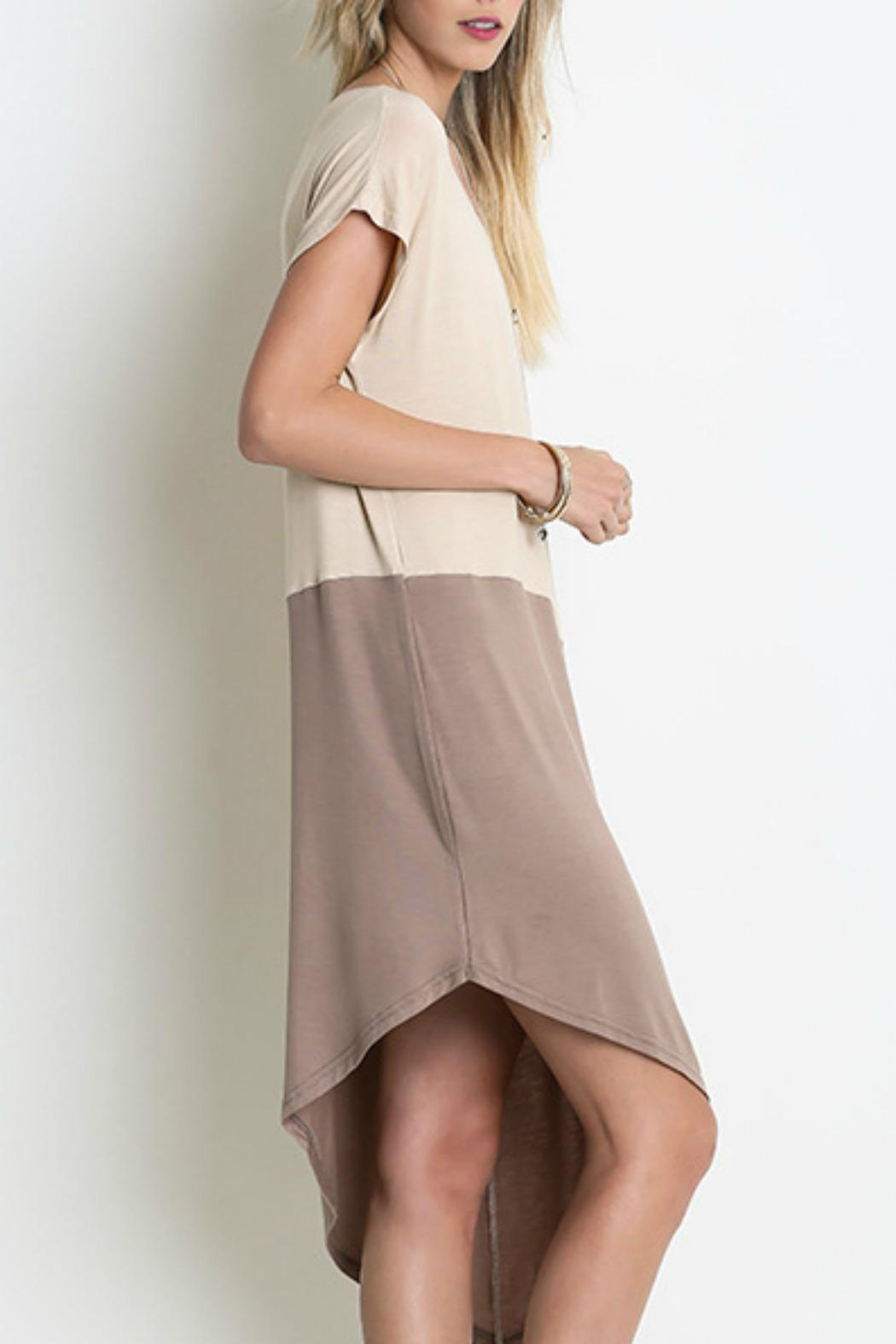 Umgee USA Two-Toned Asymmetrical Dress - Front Full Image