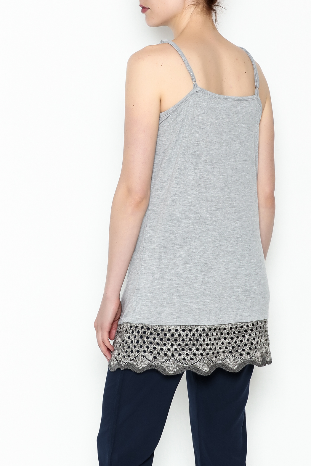 Umgee USA Crochet Tunic Tank - Back Cropped Image