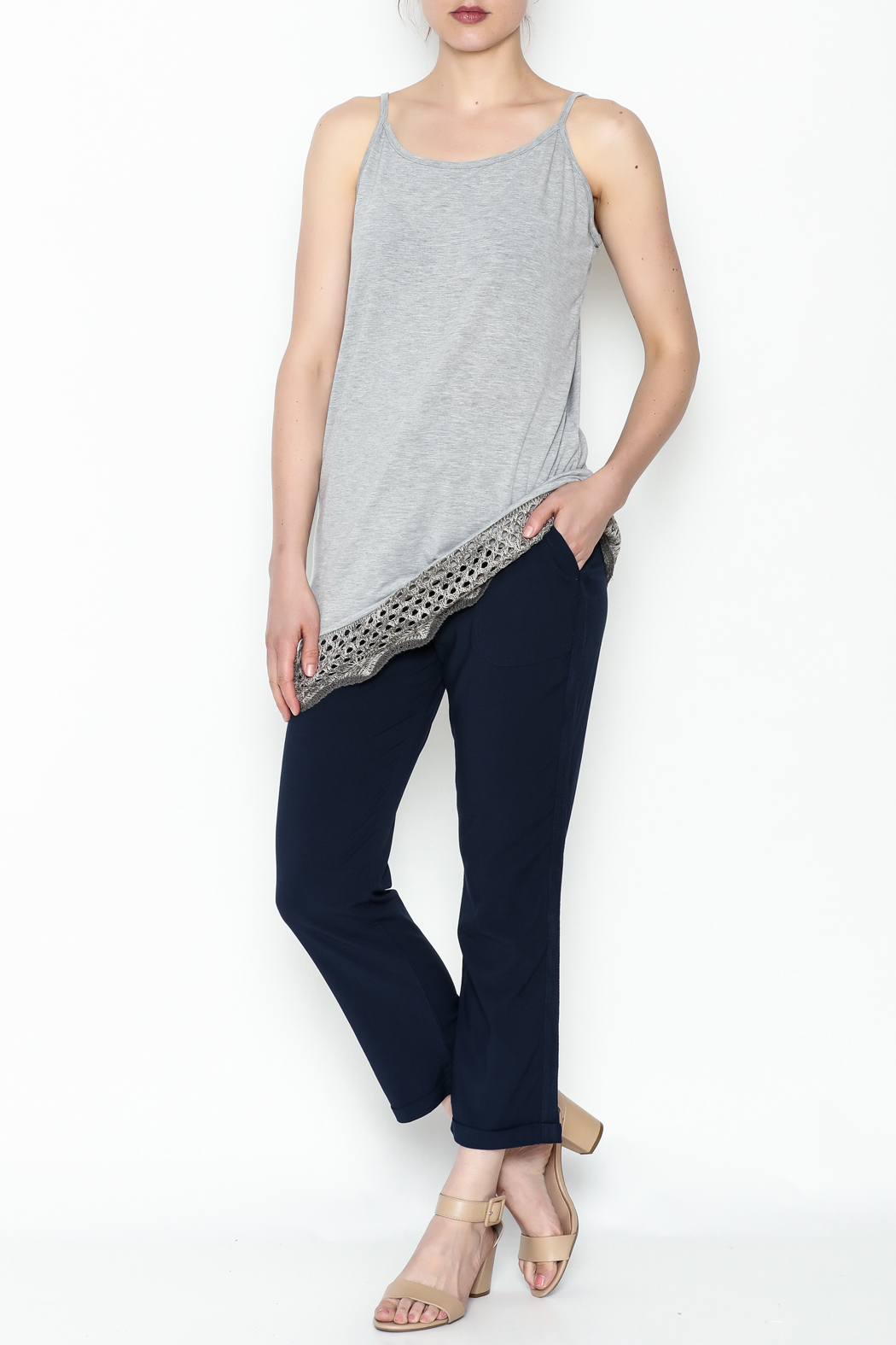 Umgee USA Crochet Tunic Tank - Side Cropped Image