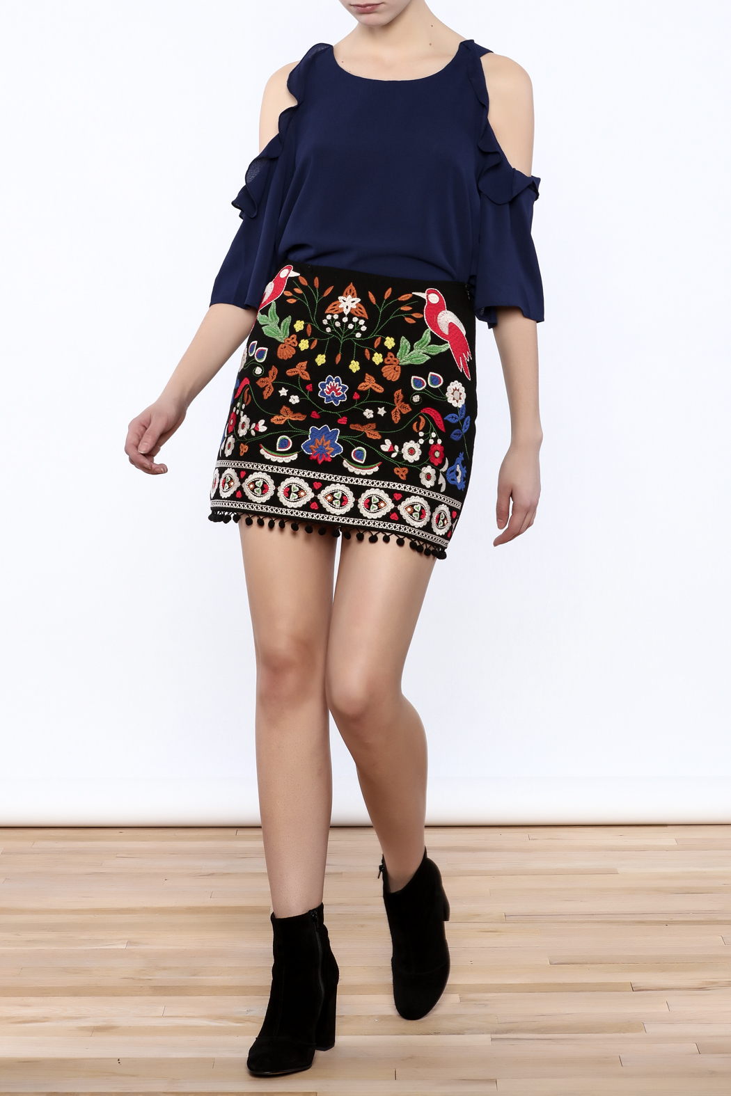 Umgee USA Floral Embroidered Skirt - Front Full Image