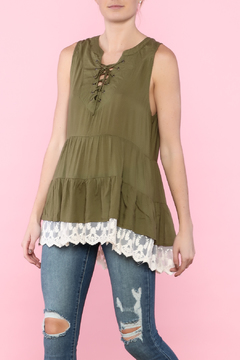 Shoptiques Product: Green Lace Tank Top Tunic