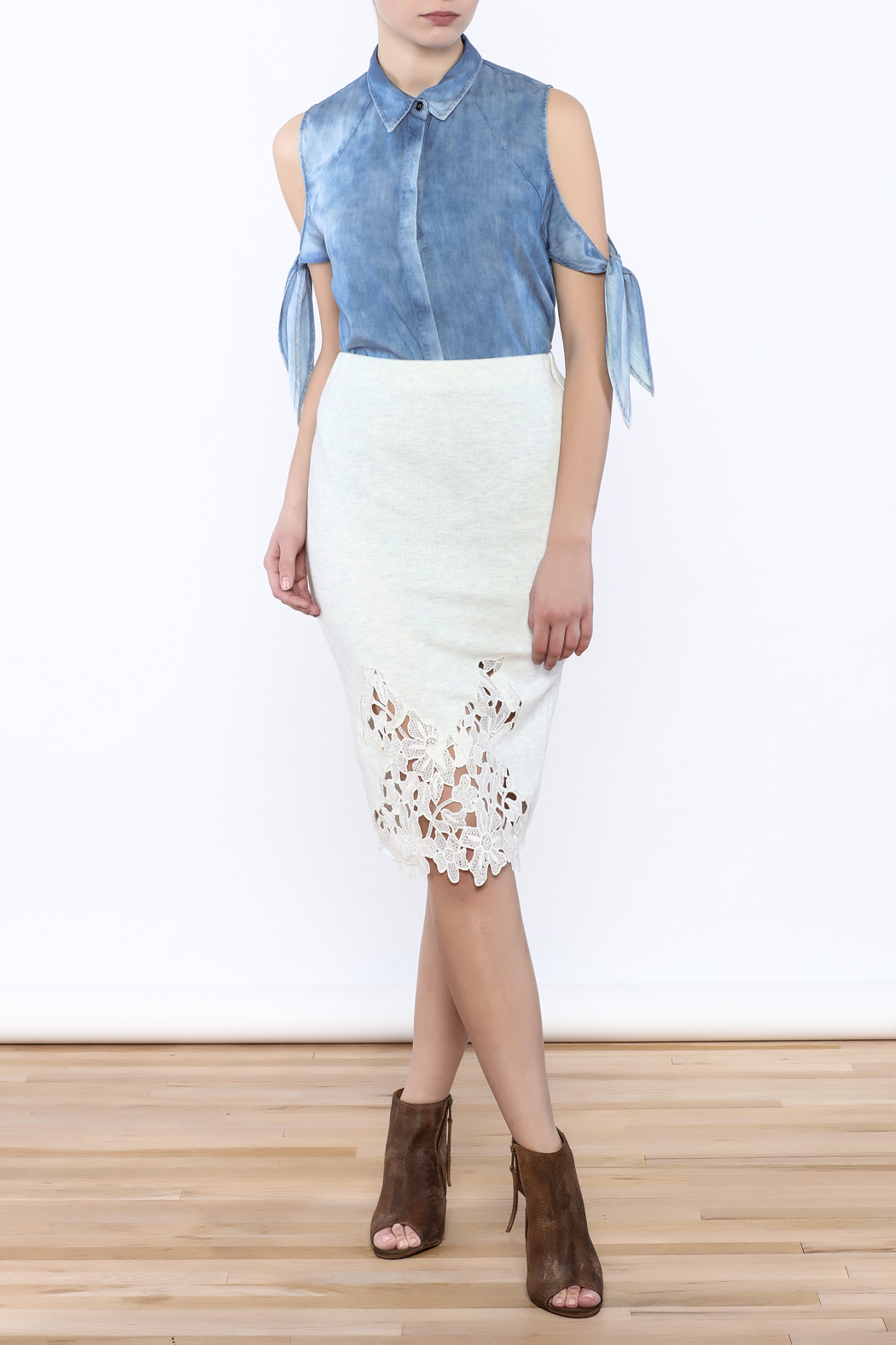 Umgee USA Lace Front Skirt - Front Full Image