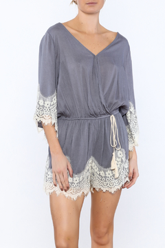 Umgee USA Blue Lace Trim Romper - Product List Image