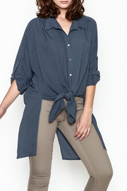 Umgee USA Navy Tie Blouse - Front cropped