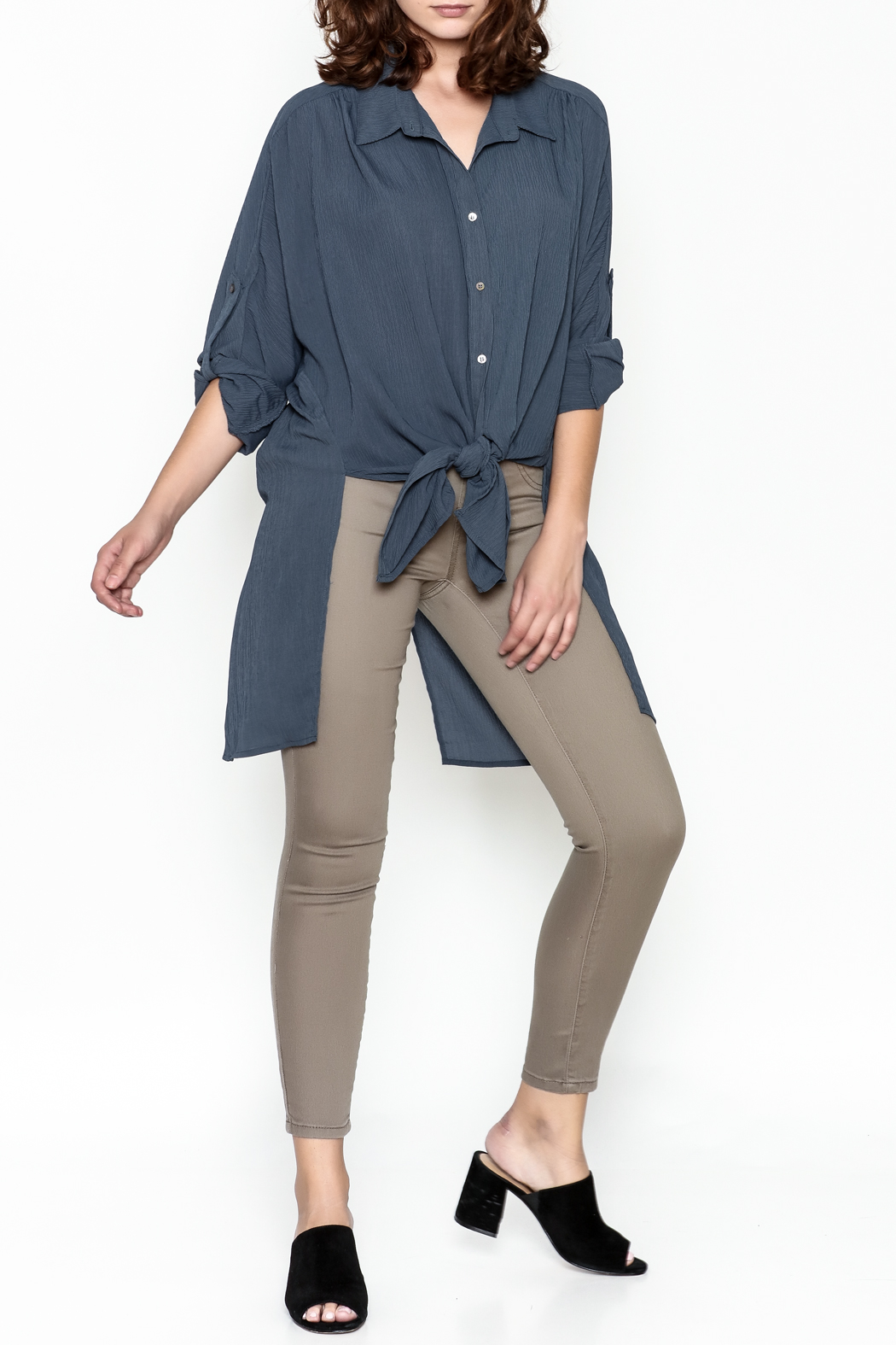 Umgee USA Navy Tie Blouse - Side Cropped Image