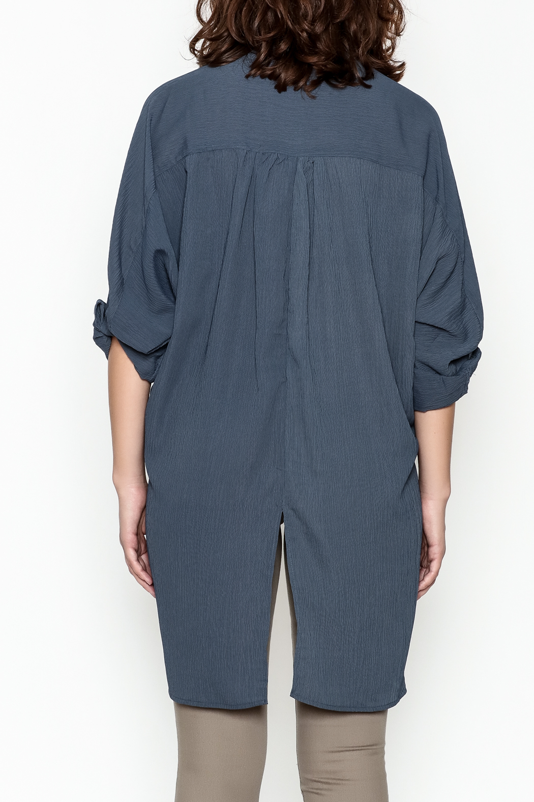 Umgee USA Navy Tie Blouse - Back Cropped Image