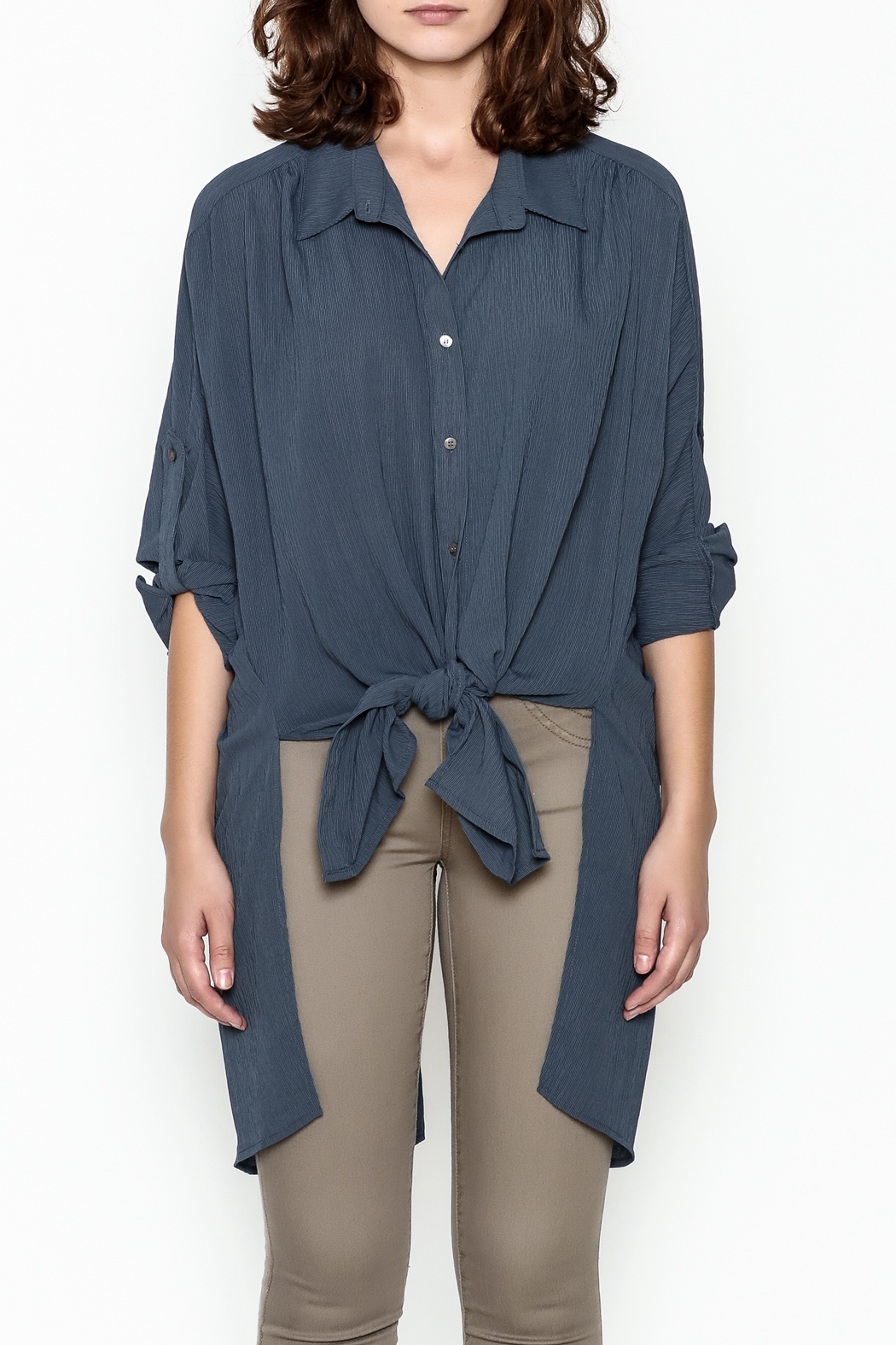 Umgee USA Navy Tie Blouse - Front Full Image