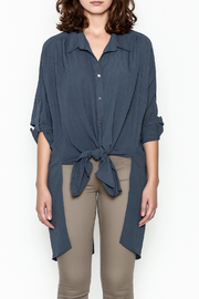 Umgee USA Navy Tie Blouse - Front full body