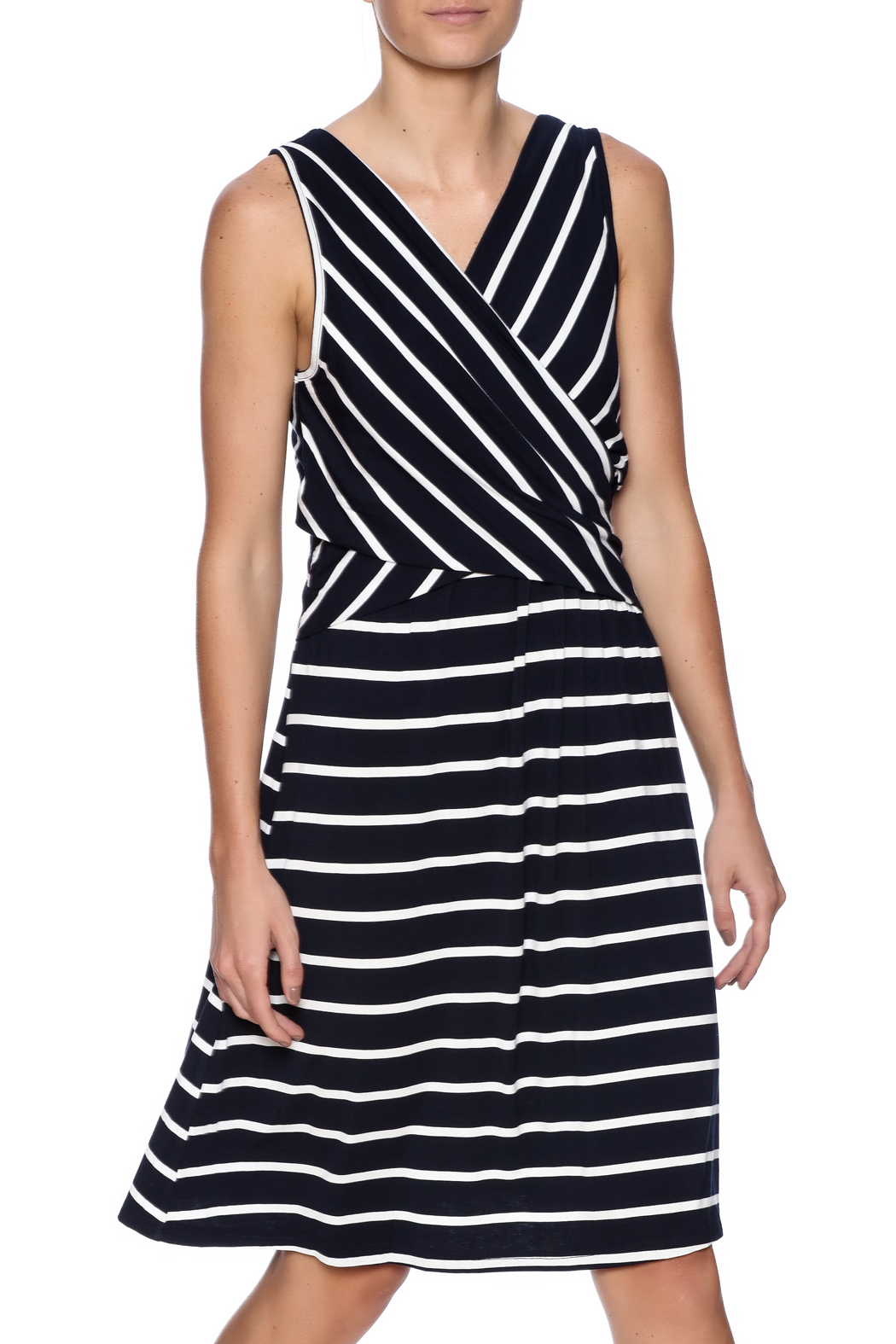 Umgee USA Striped Sleeveless Dress - Front Cropped Image
