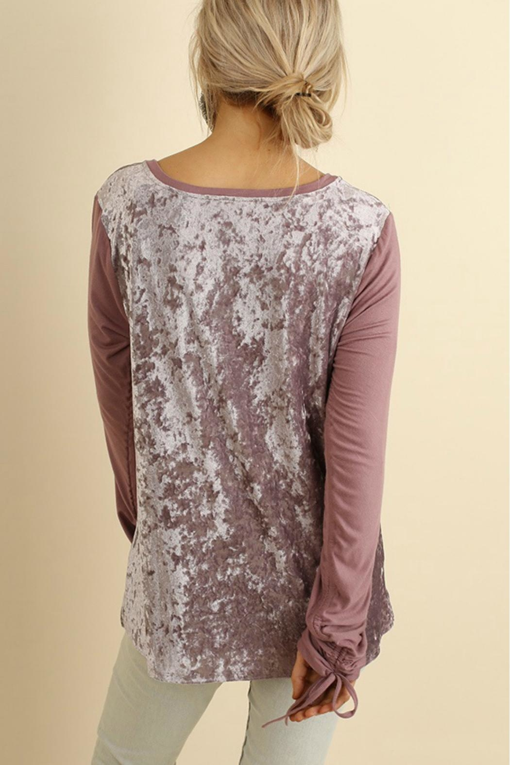 Umgee USA Velvet Long Sleeve Top - Side Cropped Image