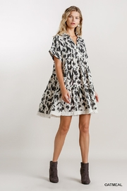 Umgee USA Abstract Babydoll Dress - Front cropped
