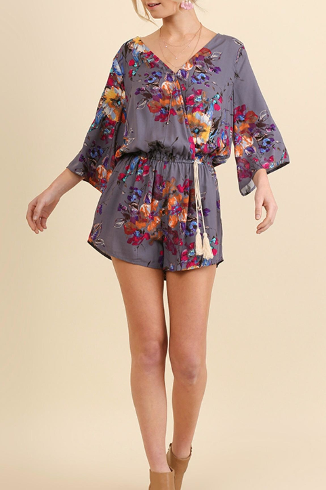 Umgee USA Abstract Floral Romper - Front Full Image
