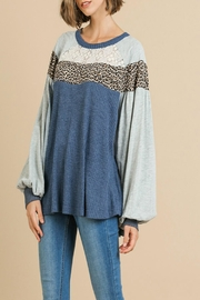 Umgee USA Animal-Print Lace-Yoke Top - Product Mini Image