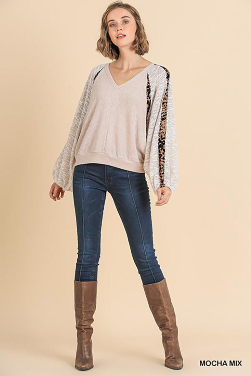Umgee USA Animal Print V-Neck Top - Side Cropped Image