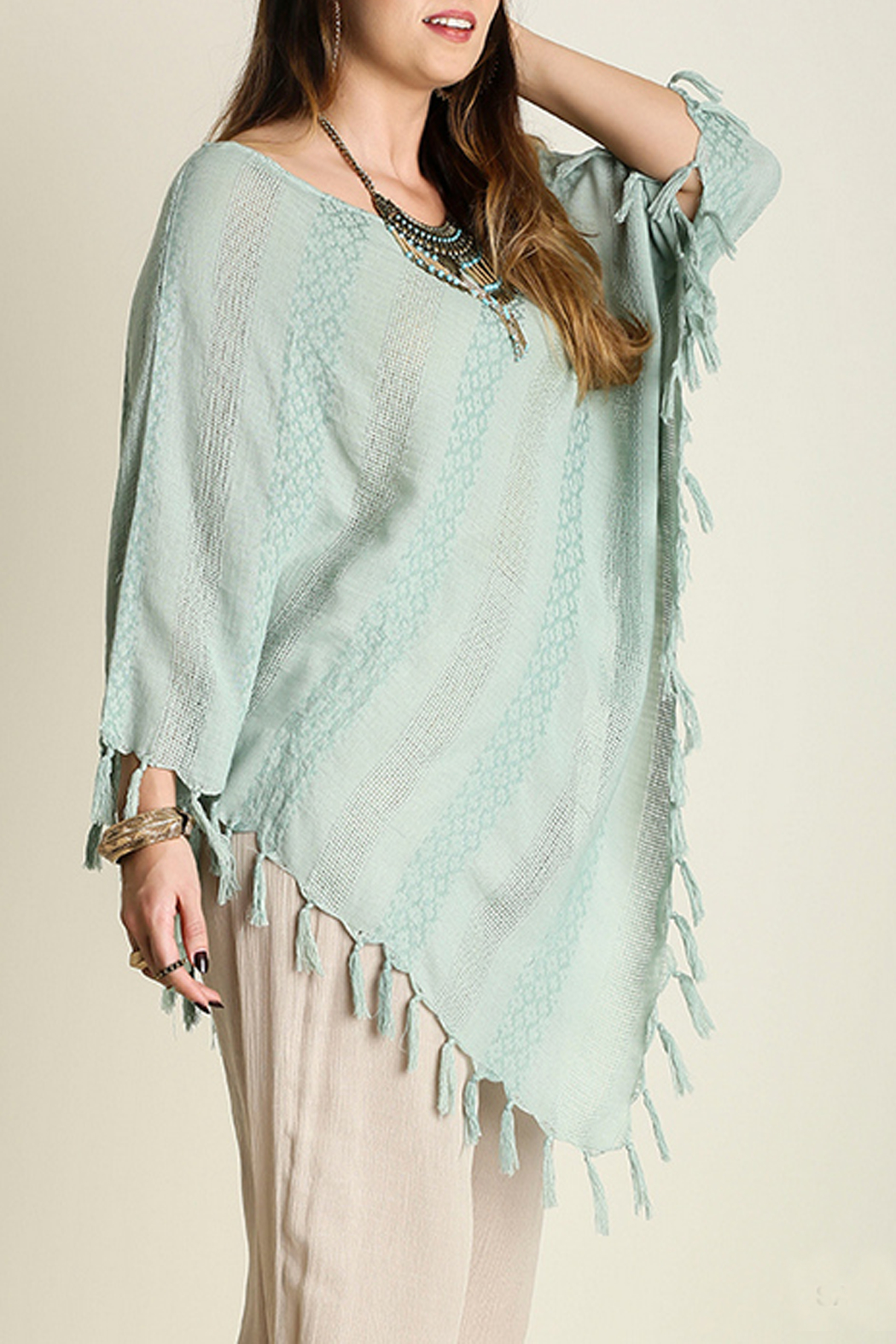 Umgee USA Asymmetrical Fringe Top - Front Full Image