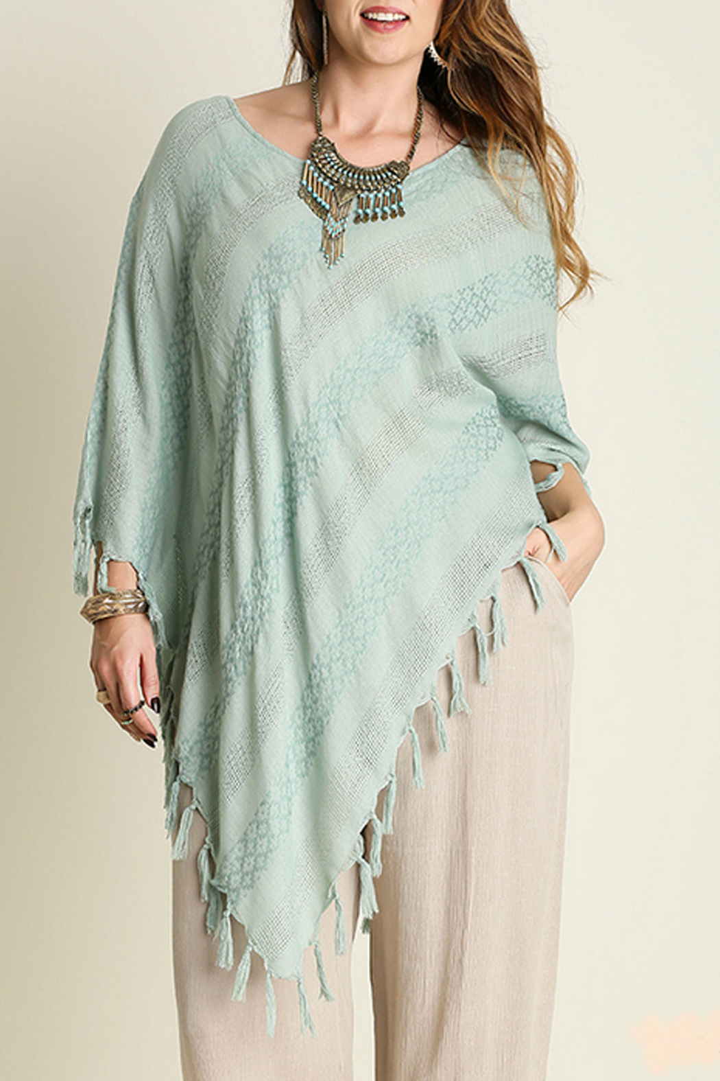 Umgee USA Asymmetrical Fringe Top - Main Image