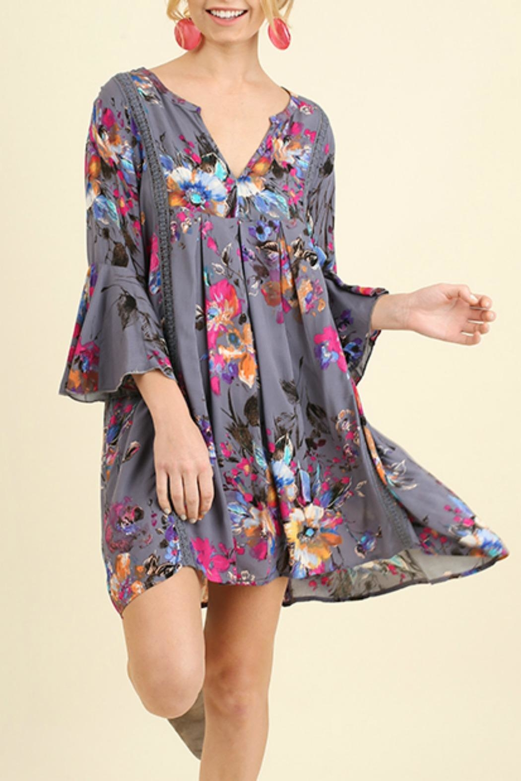 Umgee USA Babydoll Floral Dress - Front Cropped Image