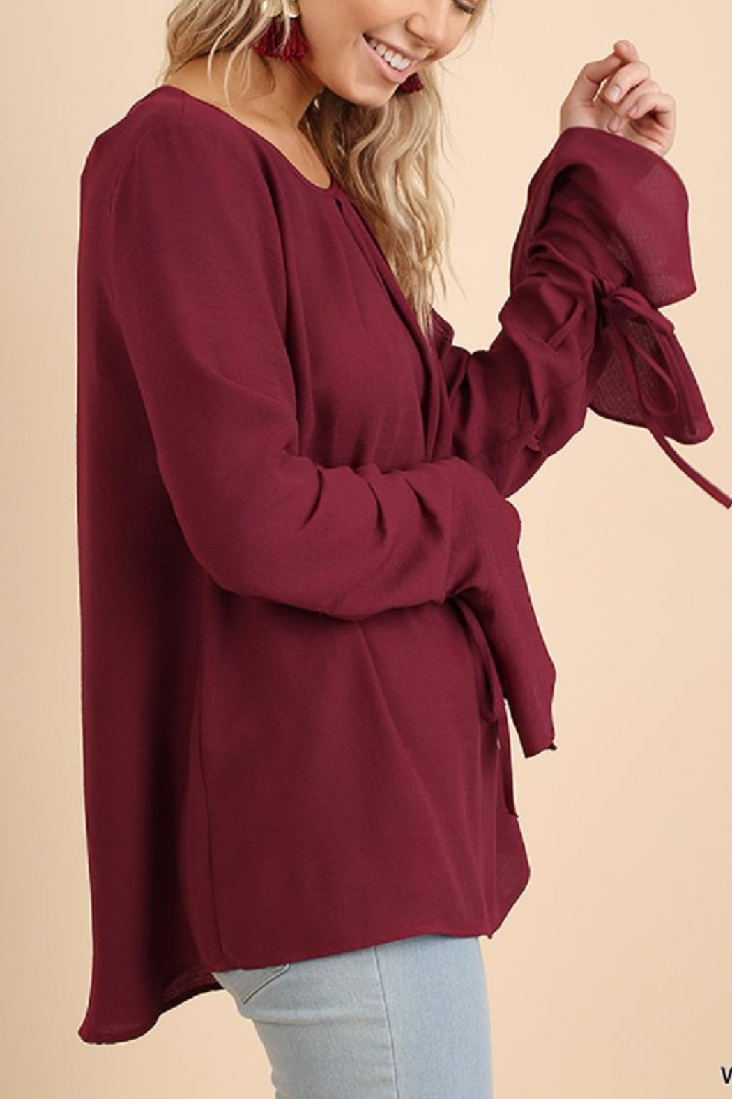Umgee USA Bell Sleeve Blouse - Front Full Image