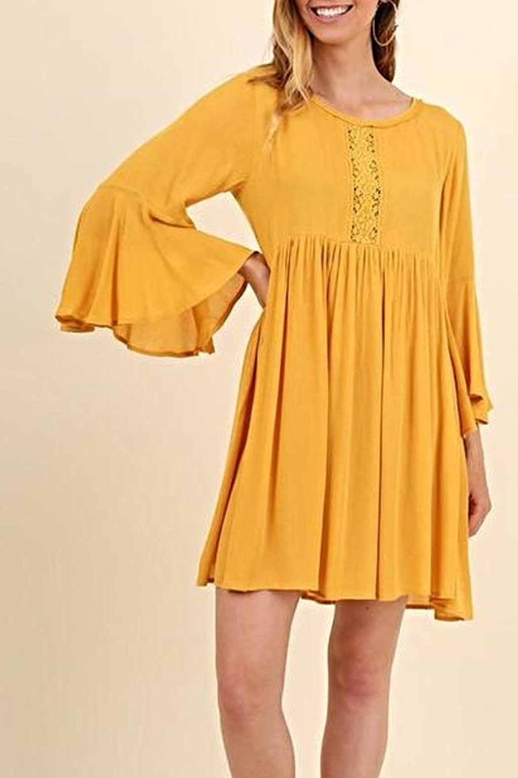Umgee USA Bell Sleeve Dress - Front Cropped Image