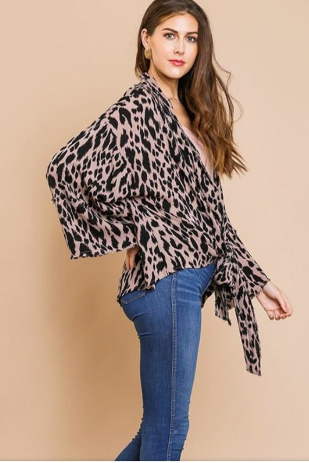 Umgee USA Bell Sleeve Kimono - Front Cropped Image