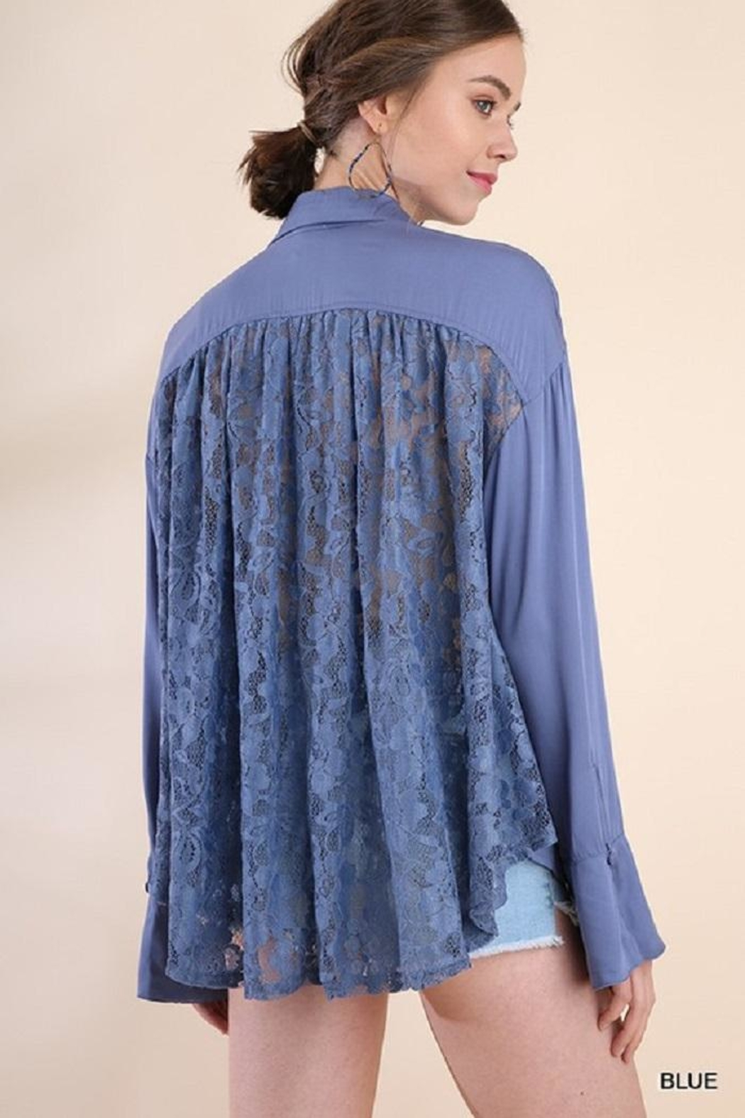 Umgee USA Bell Sleeve Lacetop - Front Full Image
