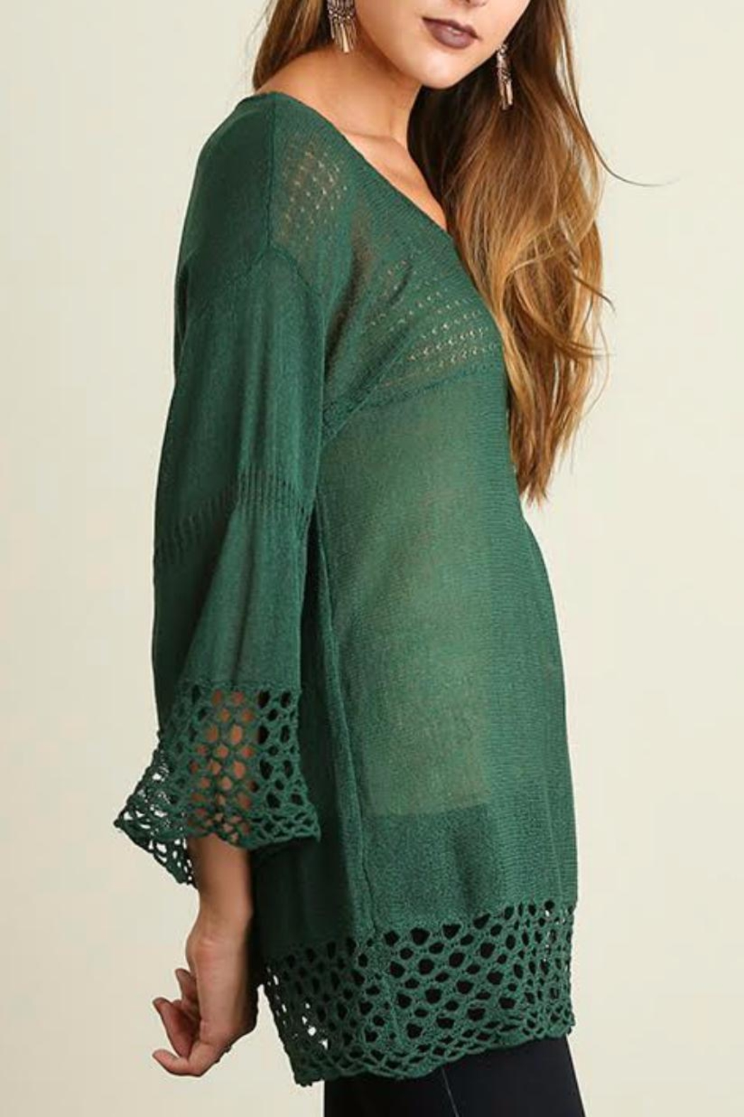 Umgee USA Bell Sleeve Sweater - Front Full Image