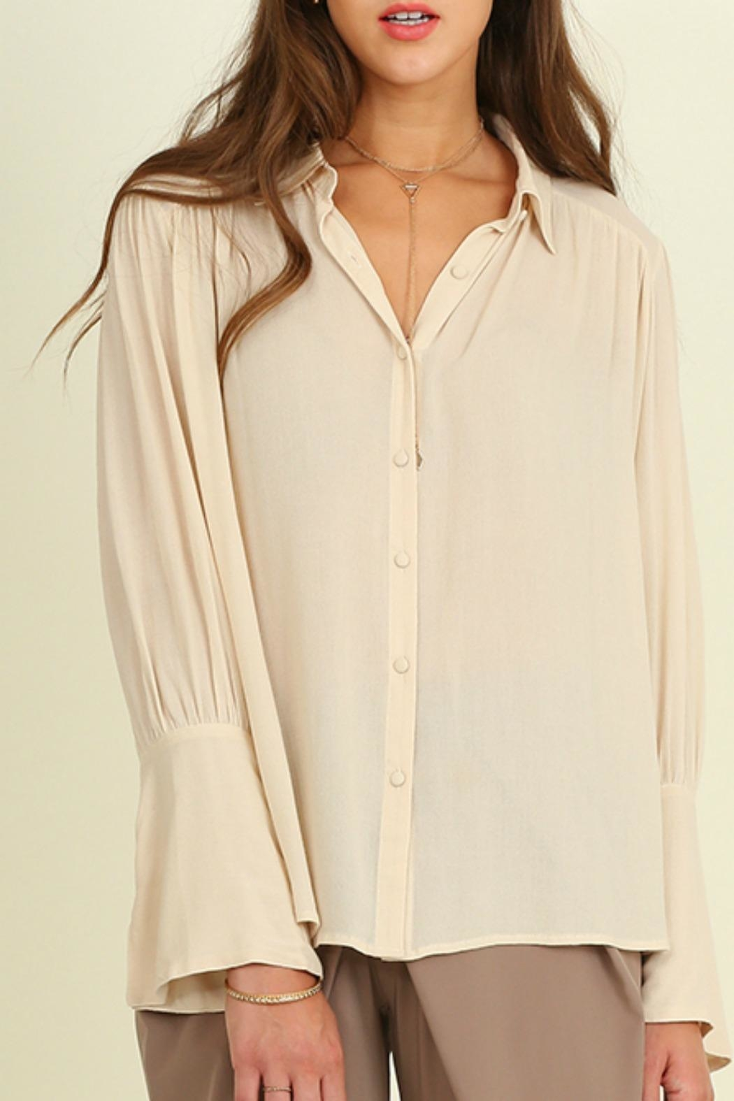 Umgee USA Bell Sleeved Blouse - Front Cropped Image