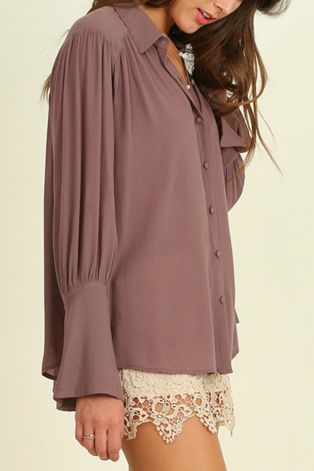 Umgee USA Bell Sleeved Blouse - Front Full Image