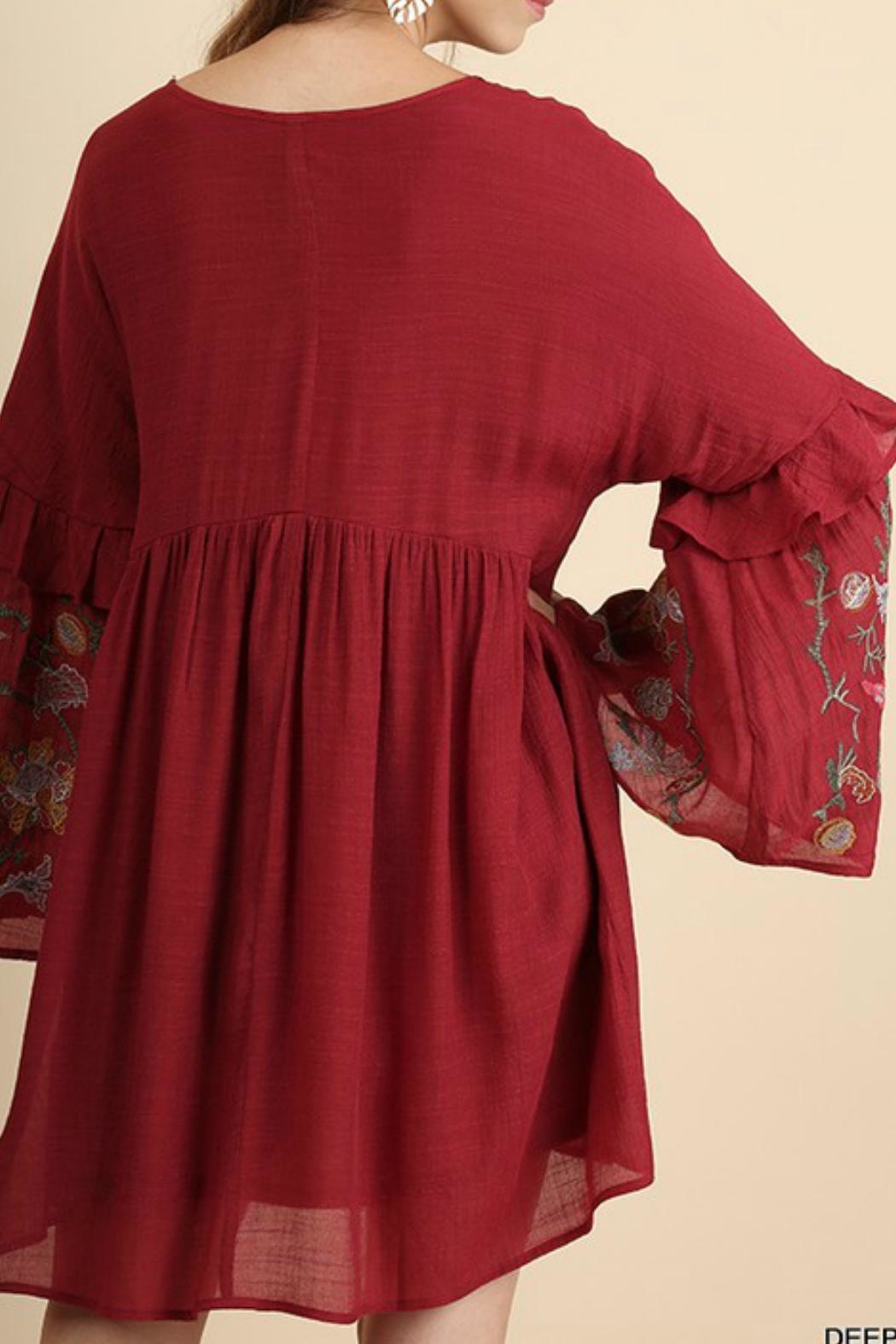 Umgee USA Bellsleeves Embroidered Dress - Front Full Image