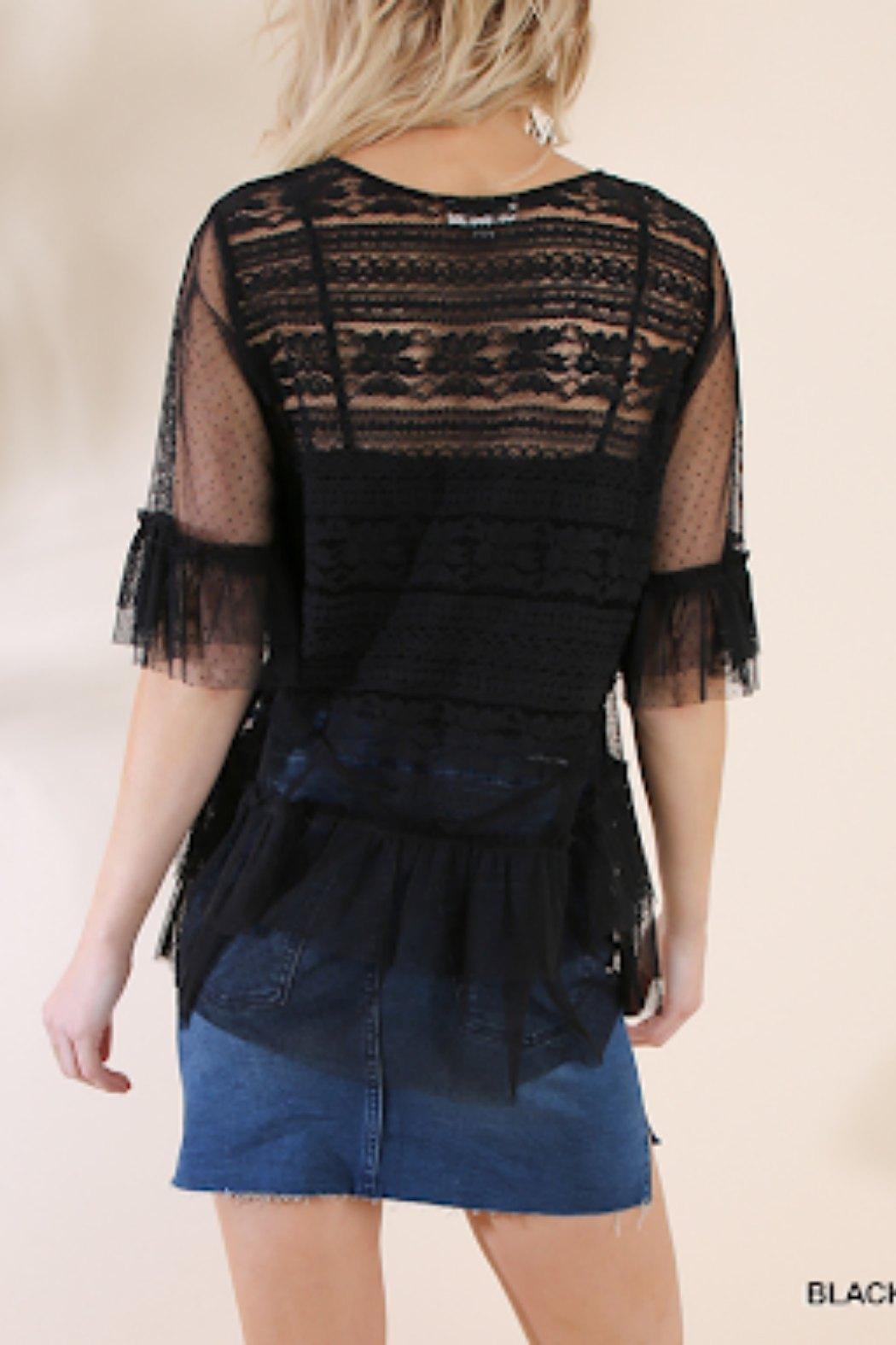 Umgee USA Black Crochet Top - Front Full Image