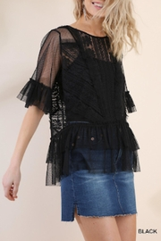 Umgee USA Black Crochet Top - Front cropped