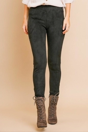 Umgee USA Black Suede Pants - Front cropped